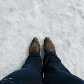 Standing on a glacier in my boots!