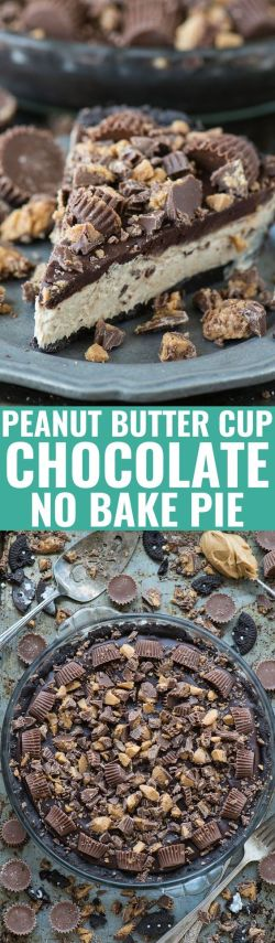 Peanut Butter Cup Chocolate No Bake Pie